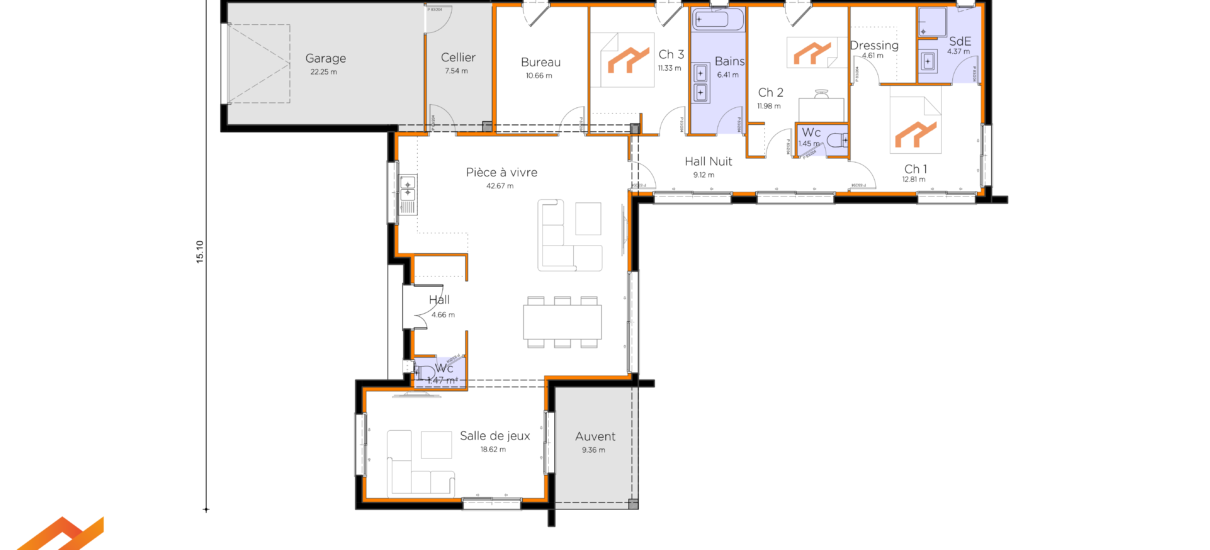 plan villa toit plat