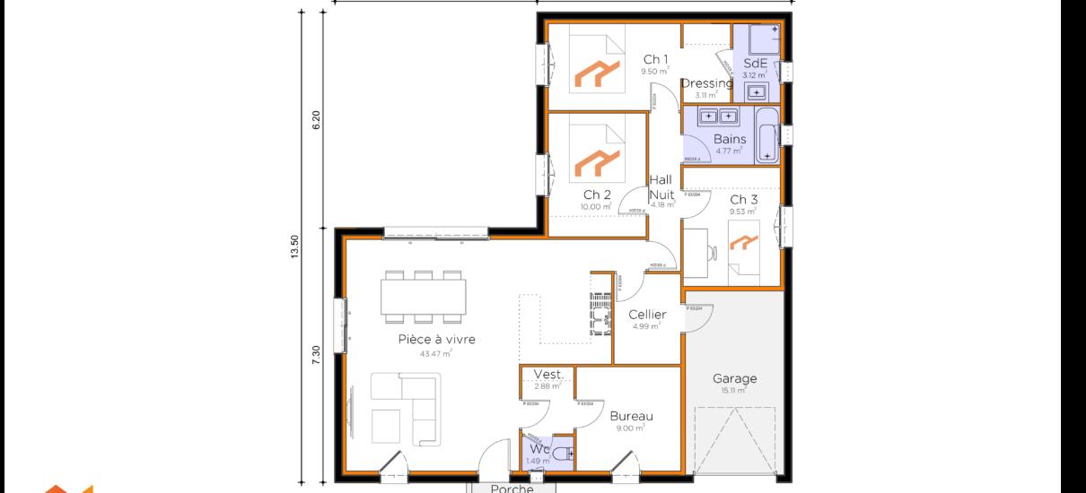 plan maison L