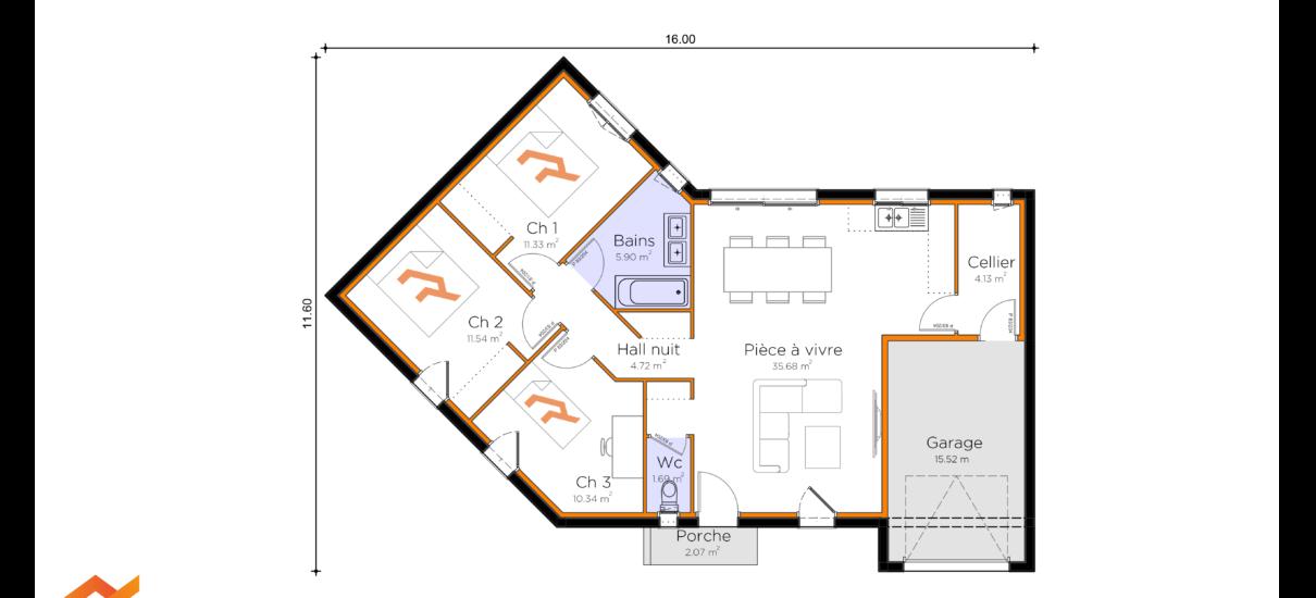 plan maison V