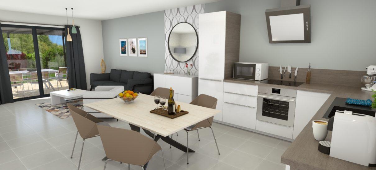 vue salon maison moderne