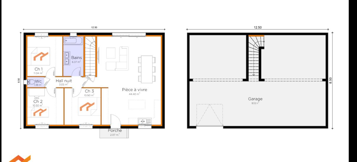 plan maison avec sous-sol