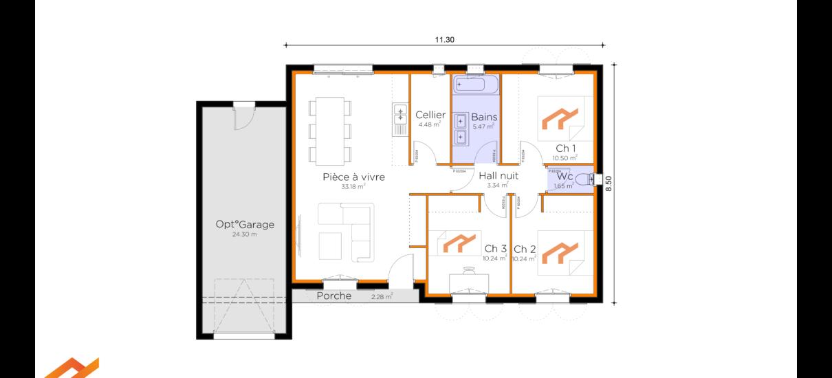 plan villa traditionnelle