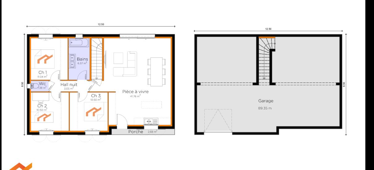plan de maison avec sous-sol