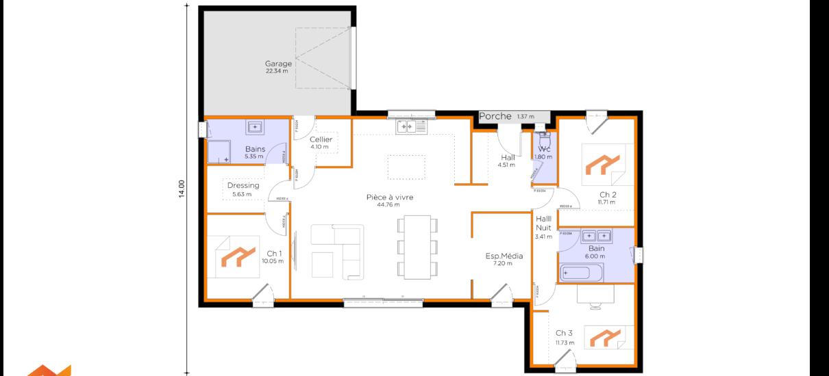 plan villa moderne